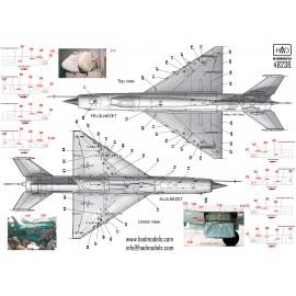 48236 MiG-21 MF/Bis stencil matrica PG-s festésekhez 1:48