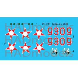 48234 MiG-21 MF HUNAF 9309 Dongó századjelzéssel matrica 1:48
