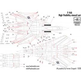 48233 F-14A magasláthatóságú stencil matrica 1:48
