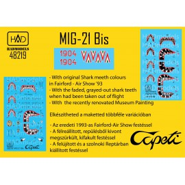 48219 MiG-21 bis Cápeti 1993Az utolsó repülési séma matrica 1:48