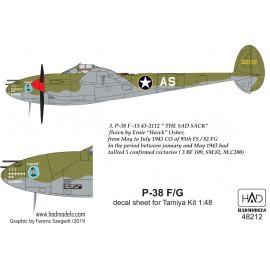 "48212 P-38 F/G  ""Európa felett""  matrica  Tamiya maketthez 1:48"