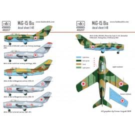 48207 MiG-15 Bis (North Corea, Soviet, Hungarian) matrica1:48