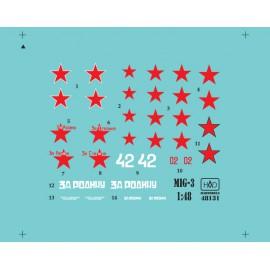 48131 MiG-3 (Russian white 42, red 02, Za Rodina, Za Stalina) matrica 1:48