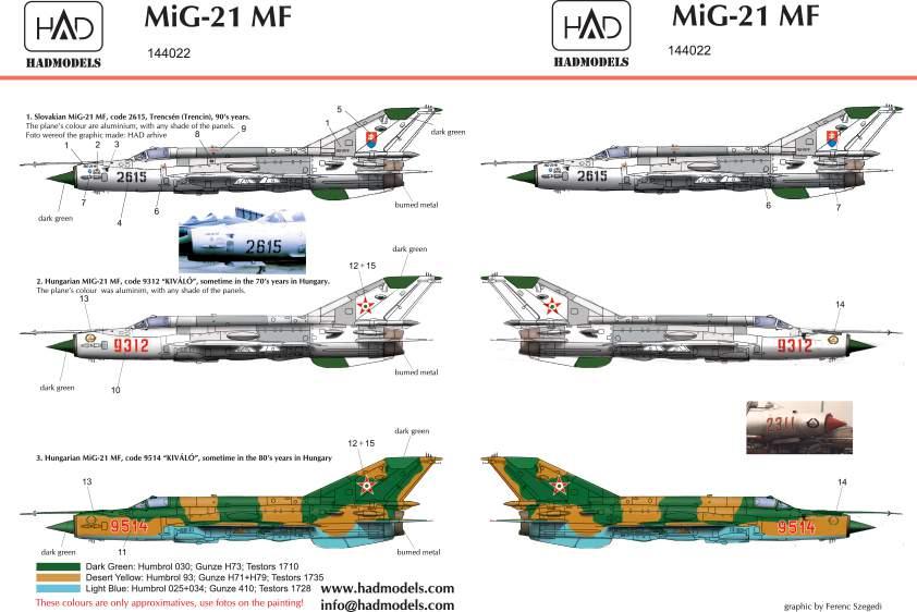 144022 Mig-21 MF decal sheet / matrica1:144