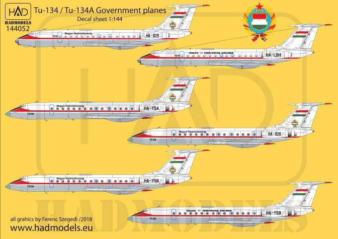 144052 Tu-134 - Tu-134A Government planes decal sheet / Kormánygépek matric