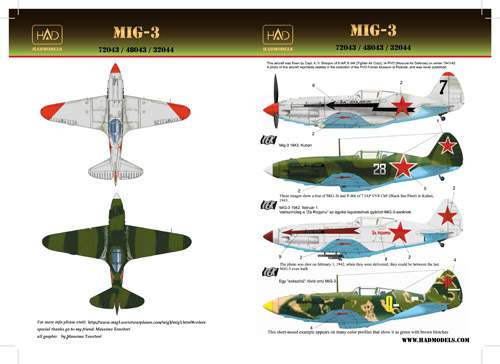 72043 MiG-3 (white 28, yellow9, black7 with Za Stalina, Za Rodinu) decal sh