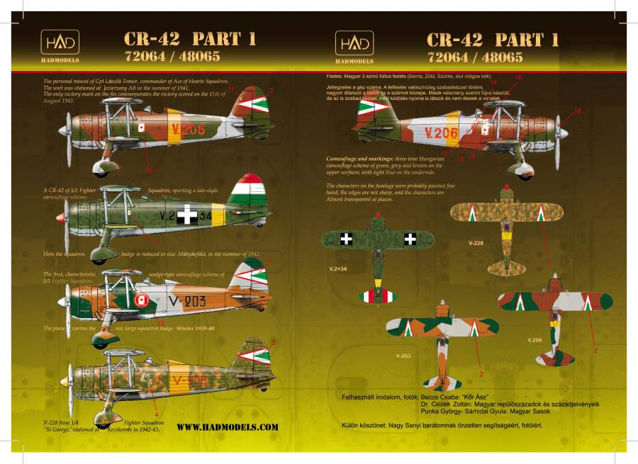 72064 CR-42 Hugharian Fighters decal sheet 1:72