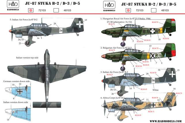 72103 Ju-87 Stuka B-2, D-3, D-5  decal sheet 1:72