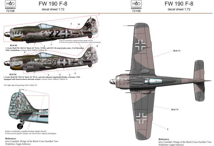 72106 FW 190 F-8 decal sheet 1:72