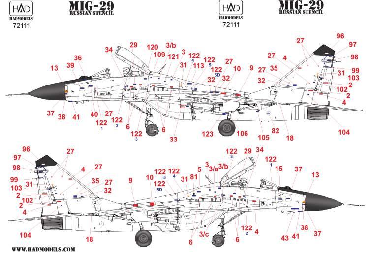 72111 MiG-29 orosz stencil matrcia1:72