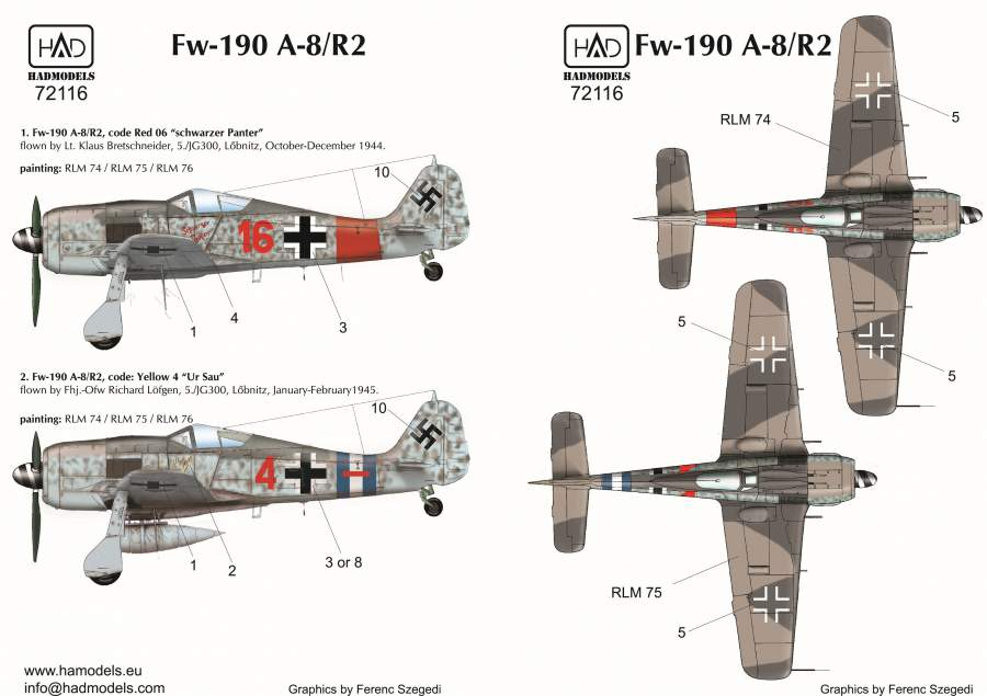 72116 Fw 190 A-8 /R2 (ur Sau red 16, red 4 Schwarzer panter) decal sheet 1: