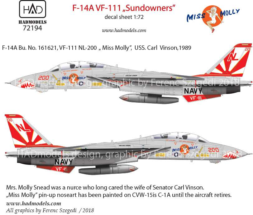 "72194 F-14A VF111 ""Sundowners"" - Miss Molly decal sheet 1:72"