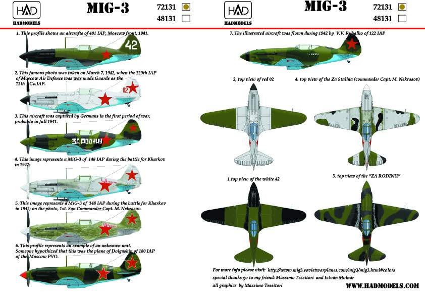 72131 MiG-3 (Russian white 42, red 02, Za Rodina, Za Stalina) decal sheet 1