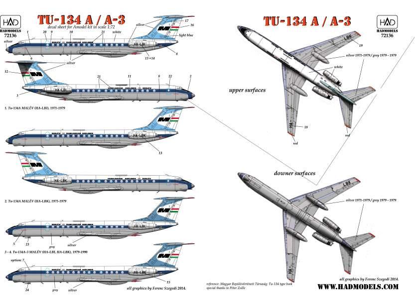 72136 Tu-134A MALÉV matrrica 1:72