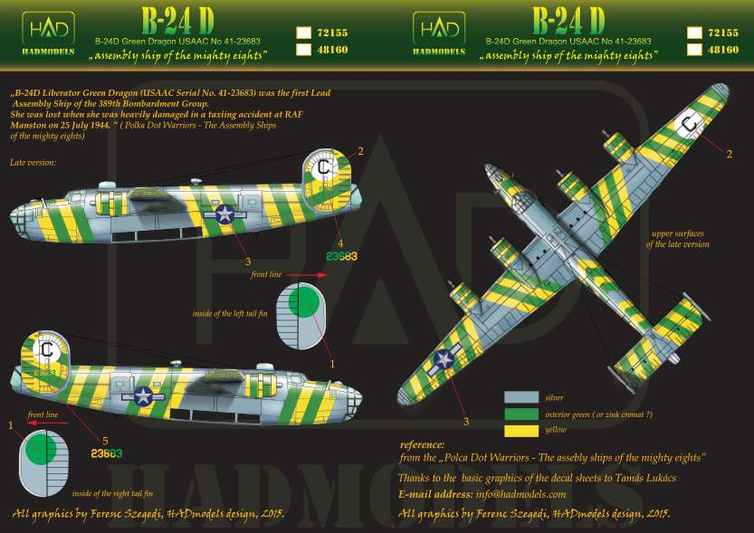 72155 B-24D Green Dragon USAF decal sheet 1:72
