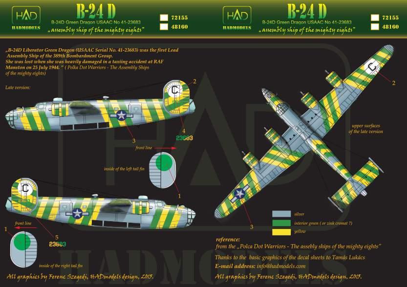 72155 B-24D Green Dragon USAF matrica1:72