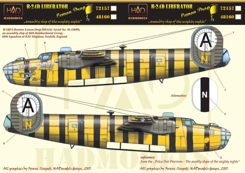 72157 B-24D  Lemon Drop USAAC  matrica 1:72