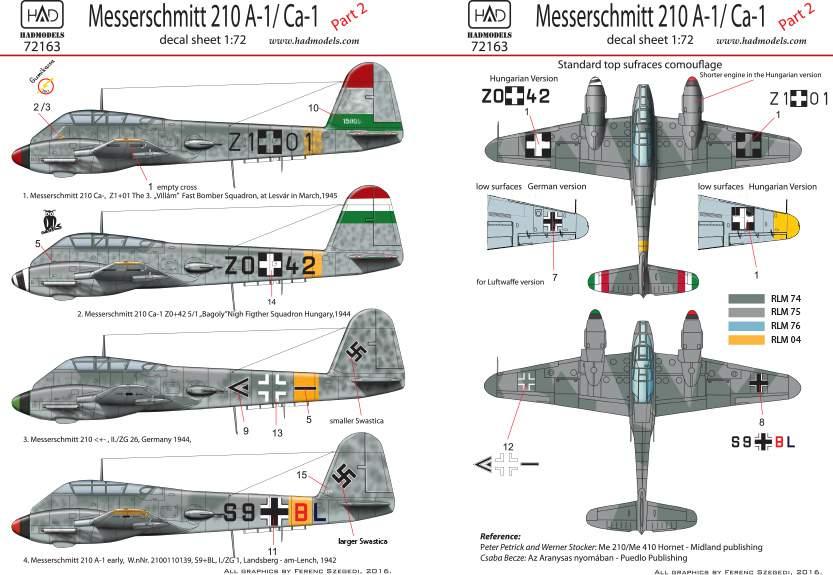 72163 Me 210 part 2 matrica 1:72