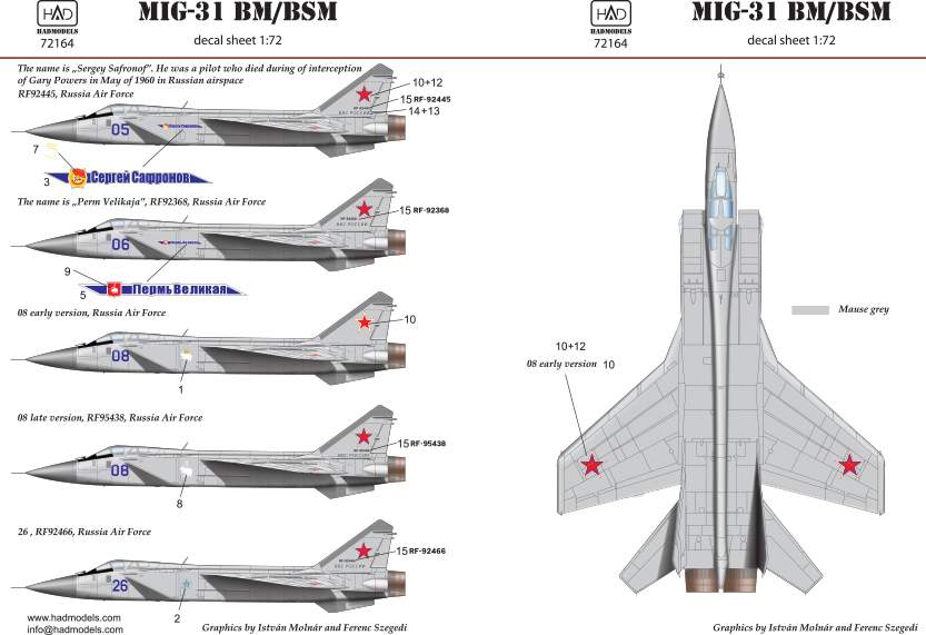 72164 MiG-31 decal sheet 1:72
