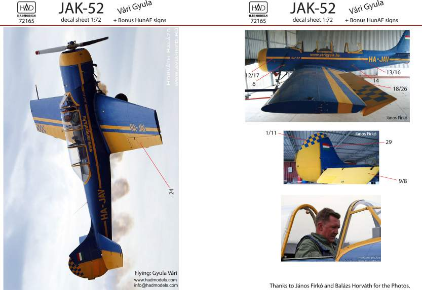 72165 JAK-52 decal sheet 1:72