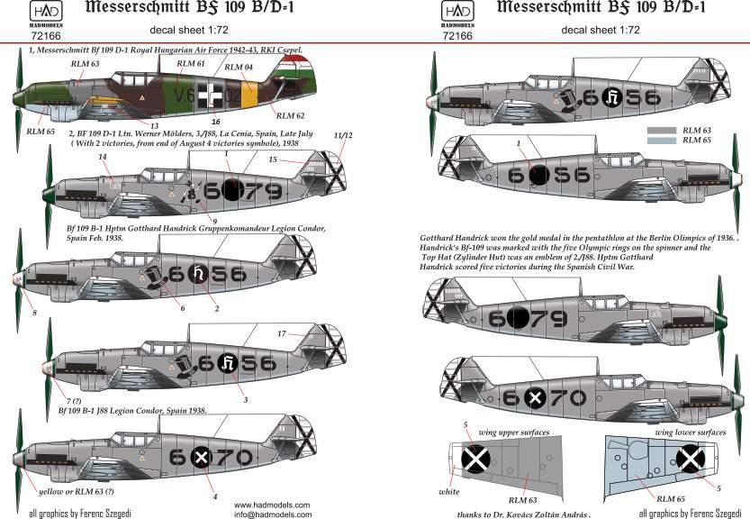 72166 Bf 109 B/D decal sheet 1:72