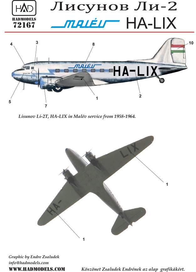 72167 Li-2 HA-LIX decal sheet 1:72