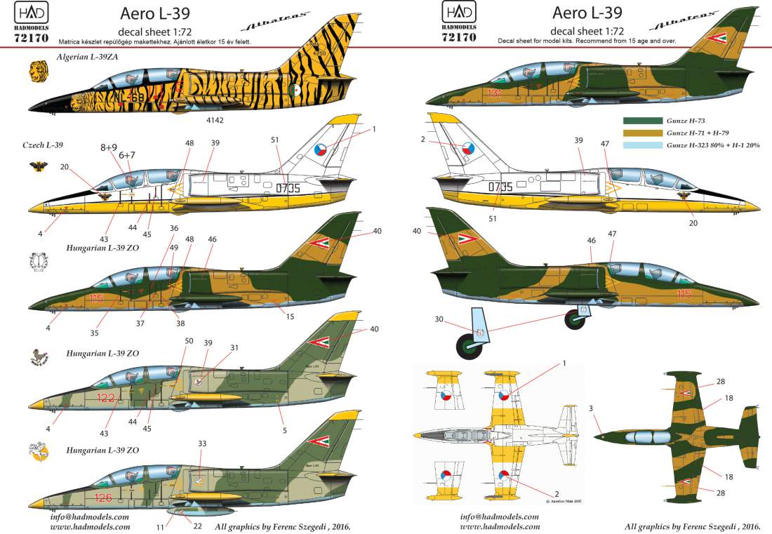 72170 L-39  decal sheet 1:72
