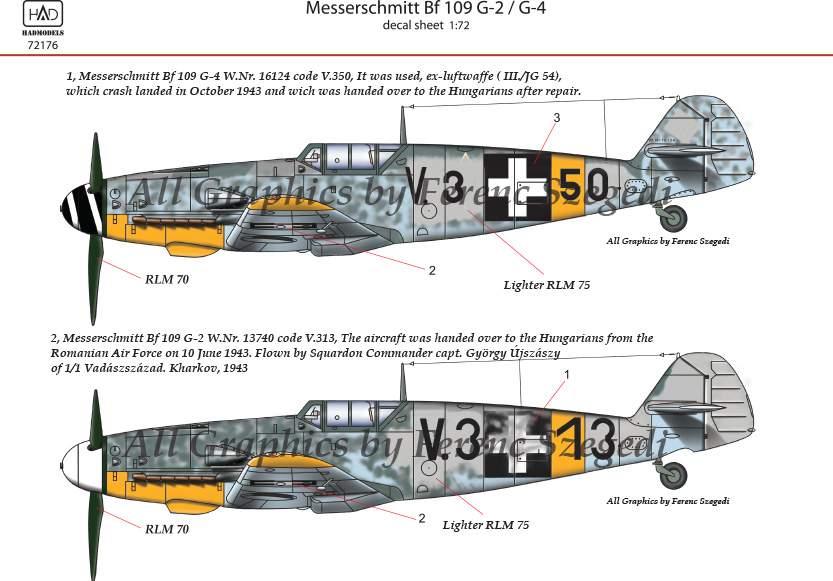 72176 Messerschmitt Bf 109 G-2/G-4 (HunV.3+13; V.3+50) decal sheet 1:72