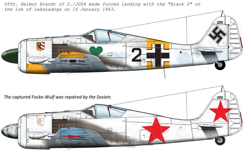 "72179 FW-190 A-4 ( JG54 ""Black 2"";  + captured ""black 2"" for Soviet Army) d"