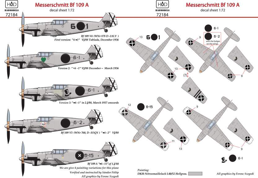 72184 Messerschmitt Bf 109 A ( V3 6.1, .6-1, .6-2, .6,-15) decal sheet 1:72