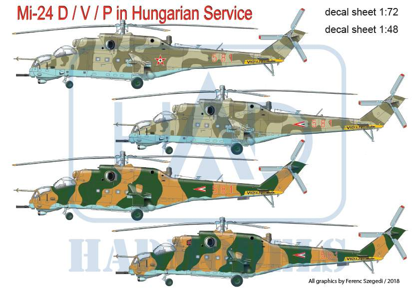 72193 Mi-24V in Hungarian Service decal sheet 1:72