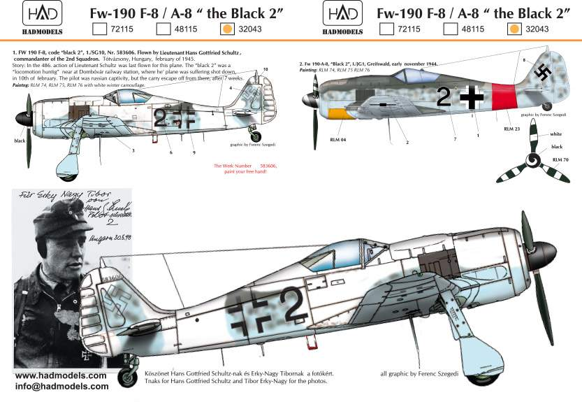 32043 FW-190 F-8 (Black 2) decal sheet 1:32