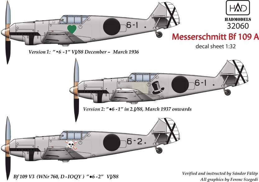 32060 Messerschmitt Bf 109 A  matrica1:32