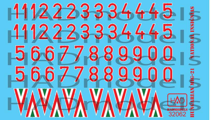 32062 magyar felségjelek és számok  (1990-1998) matrica 1:32