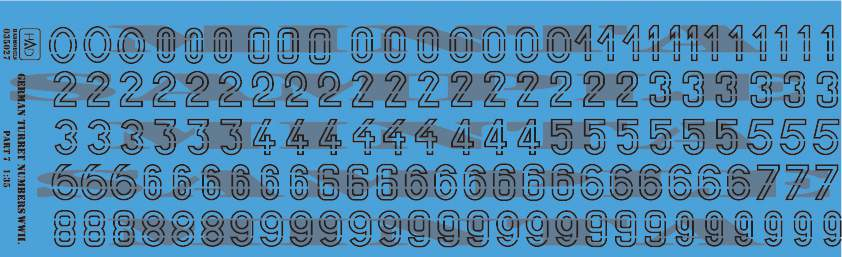 035027 German ww2 turret numbers part 7 decal sheet 1:35