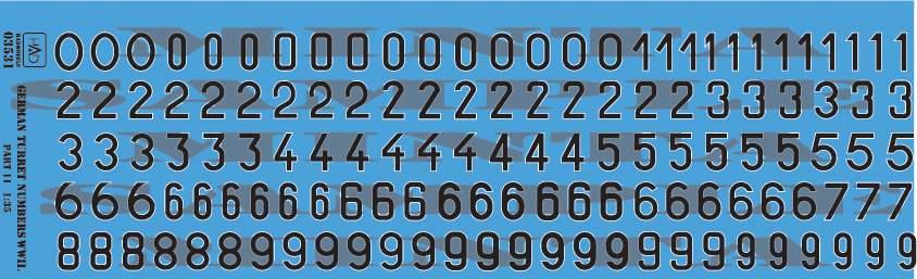 035031 német toronyszámok II. VH. matrica 1:35