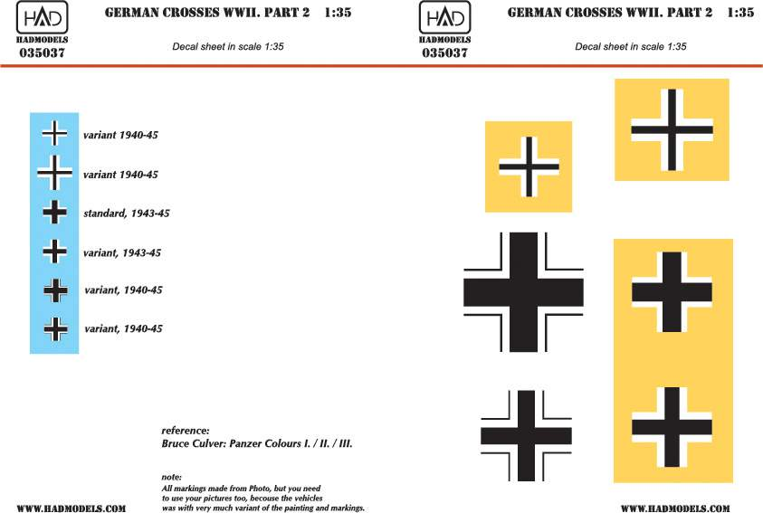 035037 German ww2 Crosses part 2 decal sheet 1:35