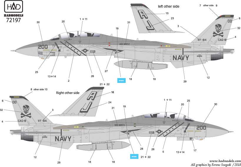 72197 F-14A VF-84 Jolly Rogers USS NIMITZ low visibility matrica 1:72