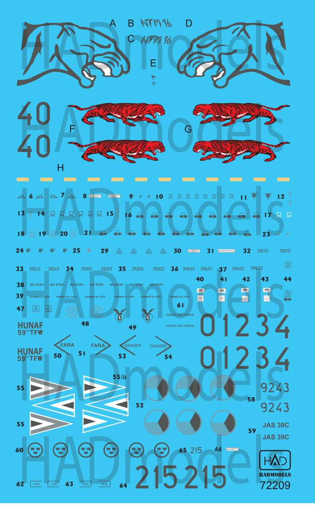 "72209 JAS-39 Gripen ""Tigermeet"" decal sheet 1:72 PREORDER!!"