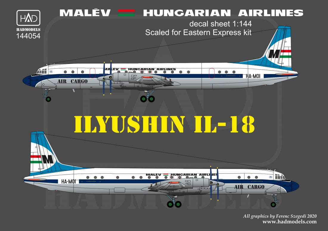 144054 IL-18 MALÉV 70´s-80´s decal sheet 1:144