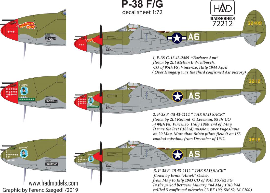 """72212 P-38 F/G  """" Over Europe"""" decal sheet 1:72"""