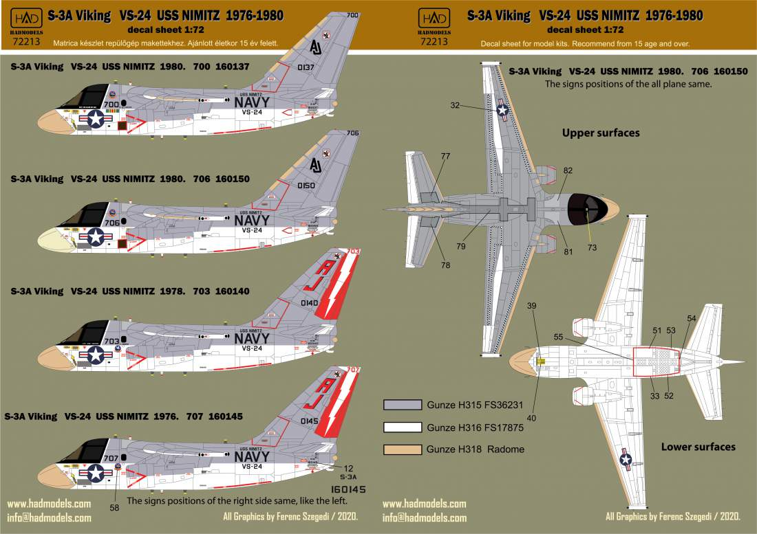 "72213 S-3A Viking ""USS NIMITZ"" 1976-78-80  with Full stencil decal  1:72"