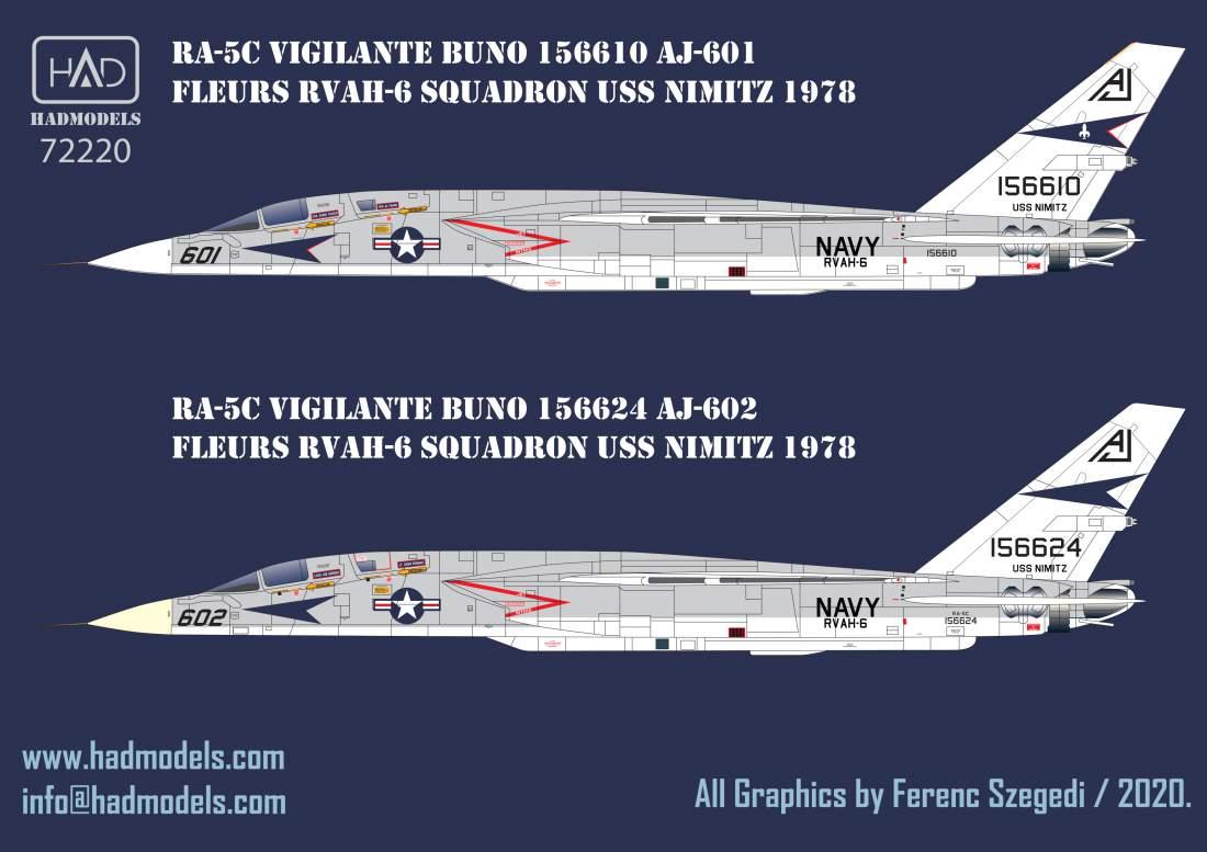 72220  RA-5C Vigilante USS NIMITZ 1978   / part 3 decal sheet 1:72