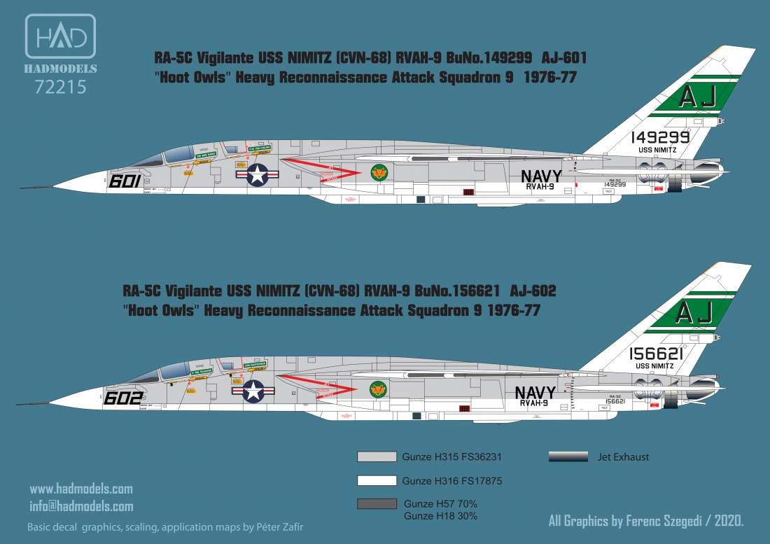 72215 RA-5C Vigilante USS NIMITZ 1976-77 / part 2 matrica 1:72