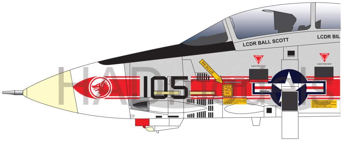 72218 F-14A VF-1 Wolfpack USS Enterprise decal sheet 1:72