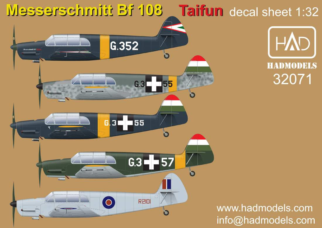 32071 Messerschmitt 108 Taifun decal sheet 1:32