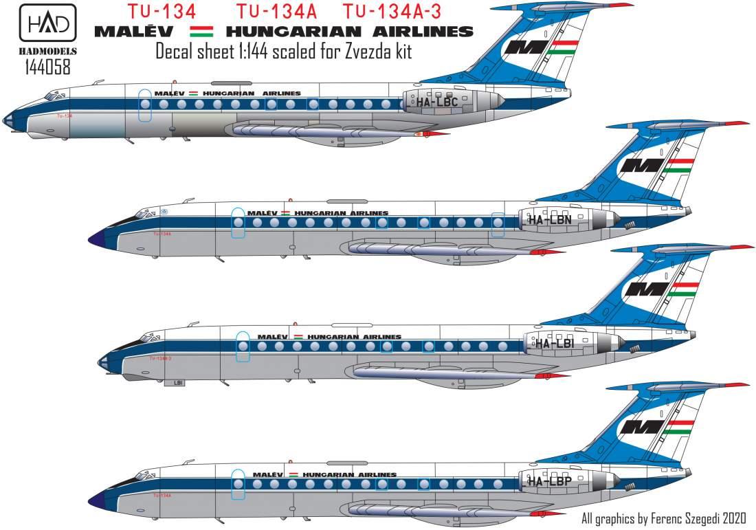 144058 Tu-134  Tu-134A  Tu-134A-3 MALÉV matrica Zvezda maketthez 1:144