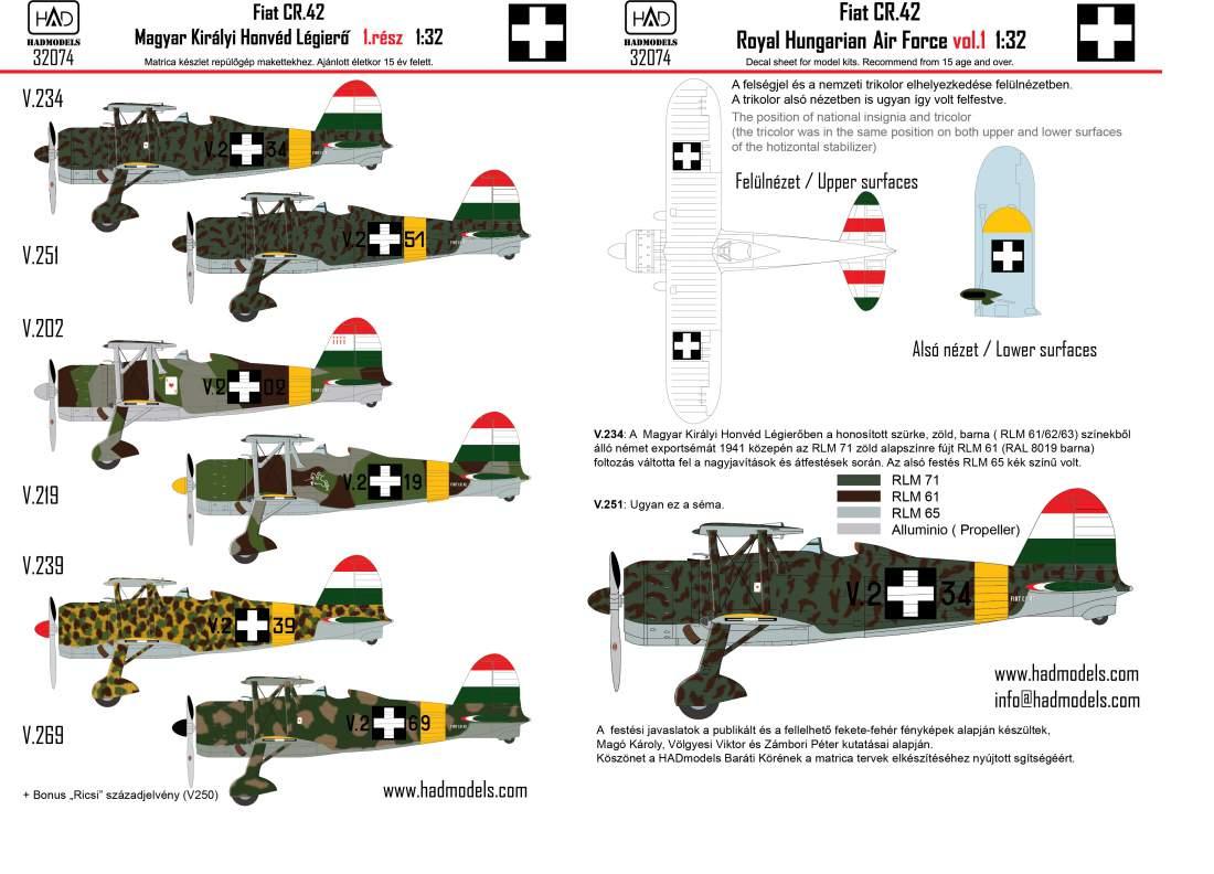 32074 CR-42 Magyar Királyi Honvéd Légierő 1.rész matrica 1:32