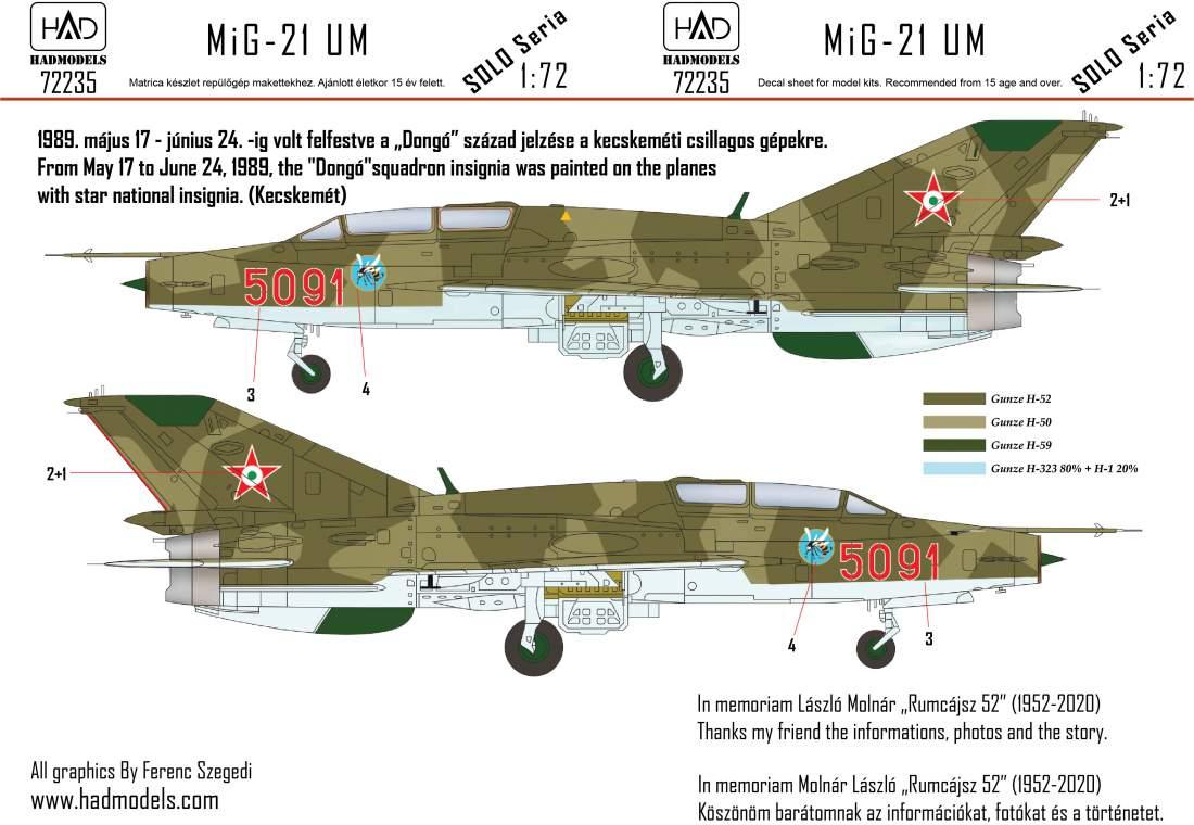 """72235 MiG-21 UM 5091 """"Dongó"""" Századjelzéses Csillagos felségjellel 1:72"""