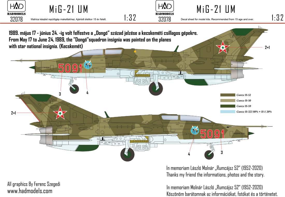 """32078 MiG-21 UM 5091 """"Dongó"""" Századjelzéses Csillagos felségjellel matrica 1:32"""